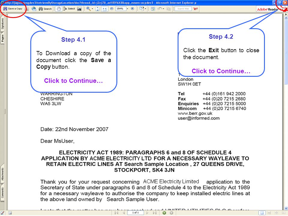 Step 5.1 To acknowledge receipt of a document, click the Acknowledge Receipt button.