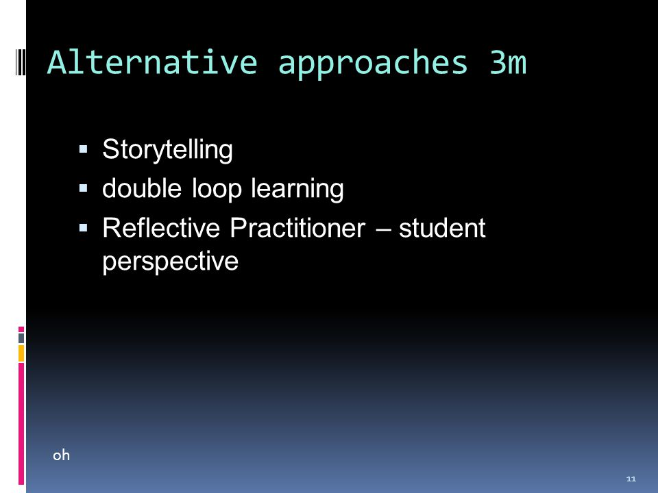 Alternative approaches 3m  Storytelling  double loop learning  Reflective Practitioner – student perspective 11 oh