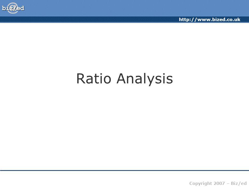 http://www.bized.co.uk Copyright 2007 – Biz/ed Ratio Analysis