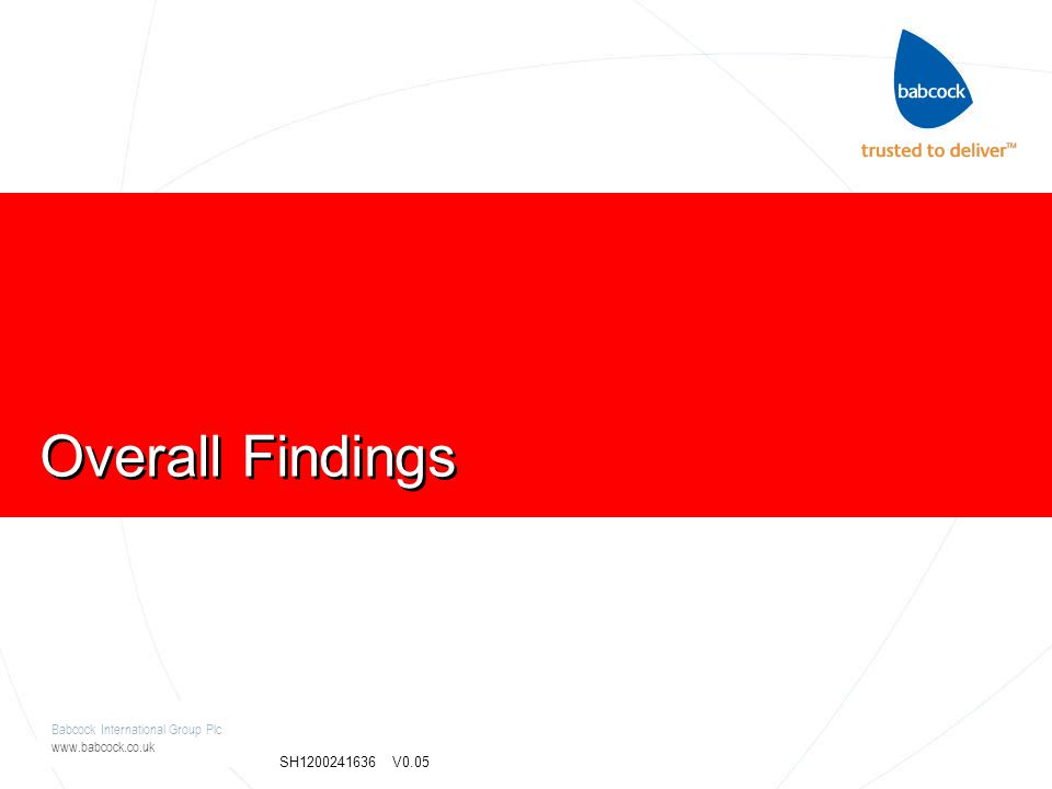 Babcock International Group Plc www.babcock.co.uk SH1200241636 V0.05 Overall Findings