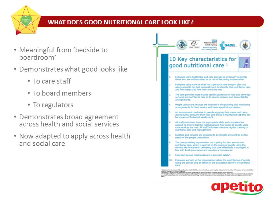 WHAT DOES GOOD NUTRITIONAL CARE LOOK LIKE.