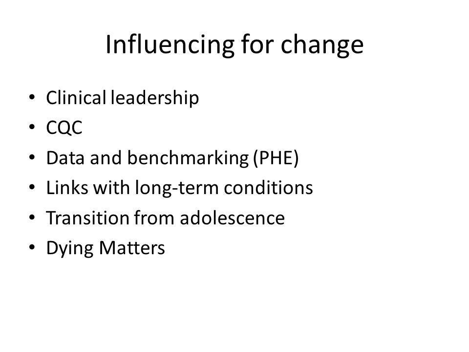 Influencing for change Clinical leadership CQC Data and benchmarking (PHE) Links with long-term conditions Transition from adolescence Dying Matters