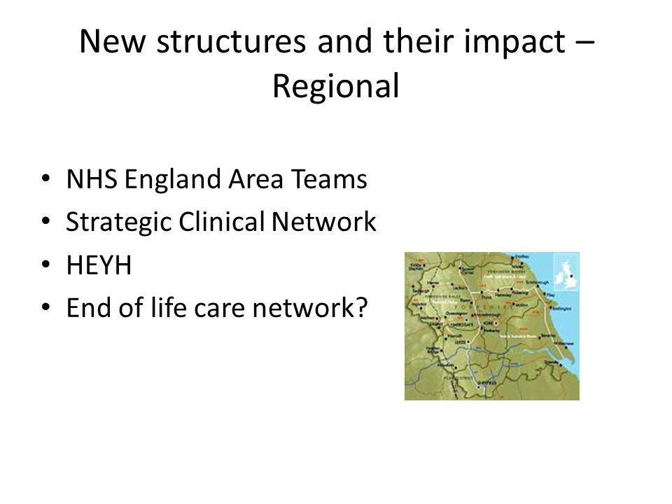 New structures and their impact – Regional NHS England Area Teams Strategic Clinical Network HEYH End of life care network?