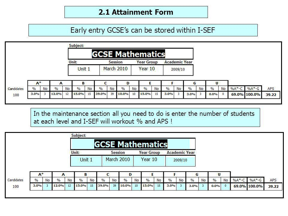 Early entry GCSE's can be stored within I-SEF In the maintenance section all you need to do is enter the number of students at each level and I-SEF will workout % and APS !