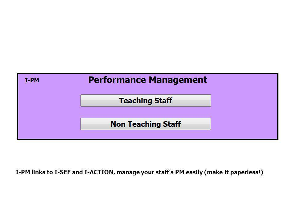 I-PM links to I-SEF and I-ACTION, manage your staff's PM easily (make it paperless!)