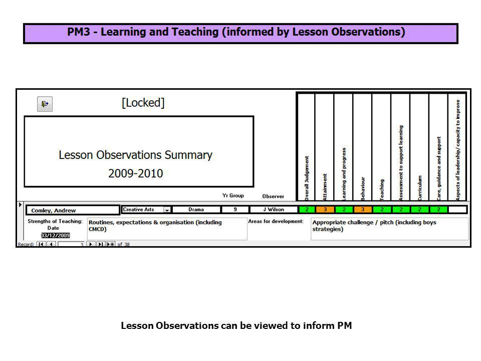 Lesson Observations can be viewed to inform PM