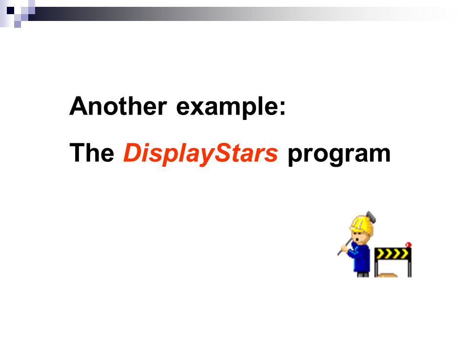 Another example: The DisplayStars program