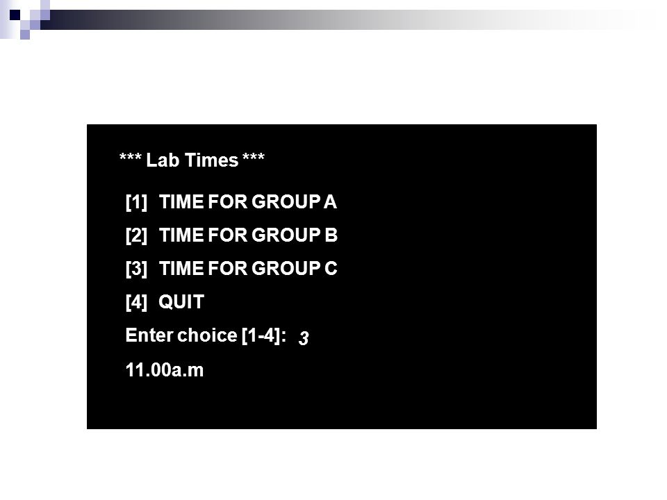 *** Lab Times *** [1] TIME FOR GROUP A [2] TIME FOR GROUP B [3] TIME FOR GROUP C [4] QUIT Enter choice [1-4]: a.m
