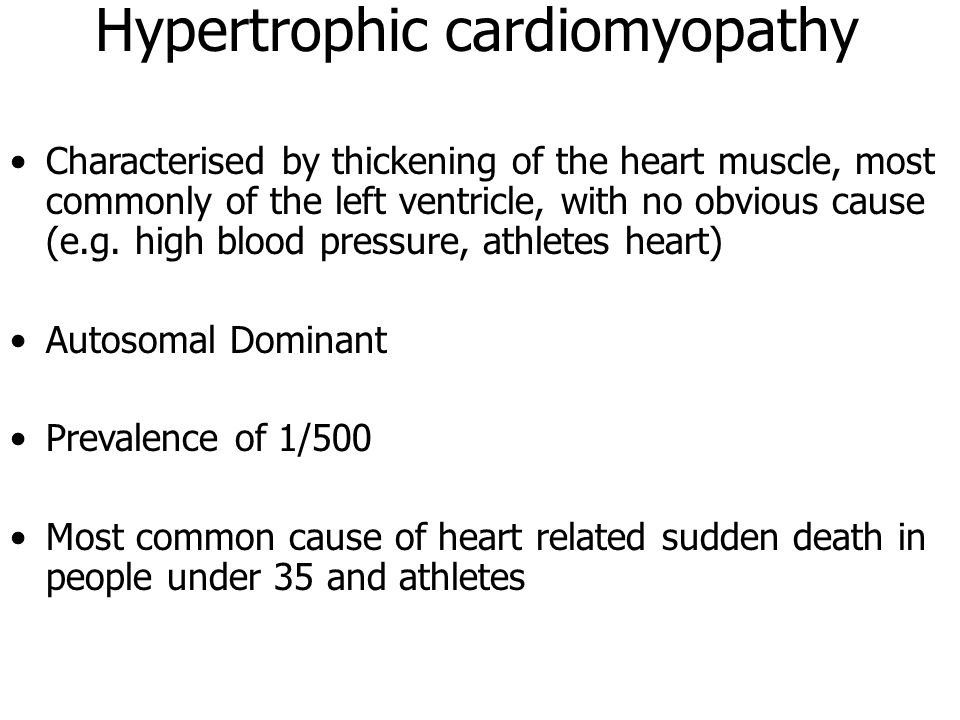 Characterised by thickening of the heart muscle, most commonly of the left ventricle, with no obvious cause (e.g. high blood pressure, athletes heart)