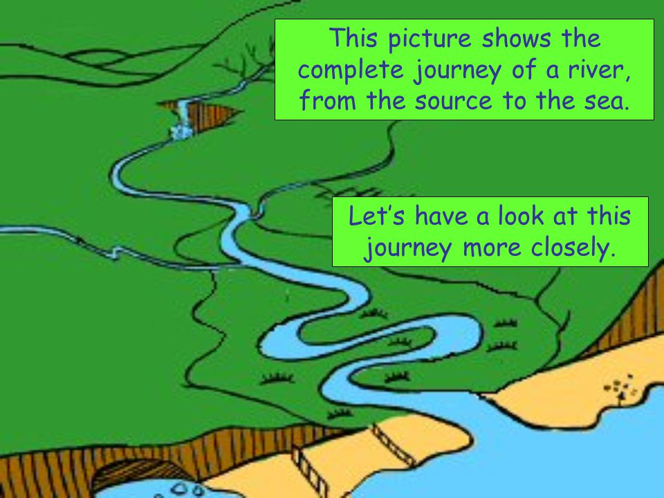 This picture shows the complete journey of a river, from the source to the sea. Let's have a look at this journey more closely.