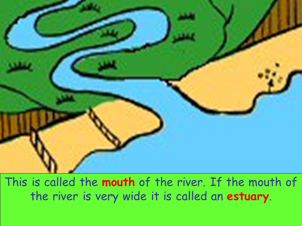 Eventually the river flows into the sea. This is called the mouth of the river. If the mouth of the river is very wide it is called an estuary.