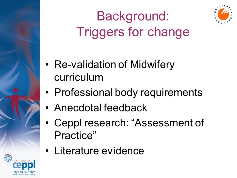 Background: Triggers for change Re-validation of Midwifery curriculum Professional body requirements Anecdotal feedback Ceppl research: Assessment of Practice Literature evidence
