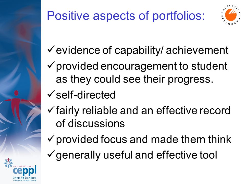 Positive aspects of portfolios: evidence of capability/ achievement provided encouragement to student as they could see their progress. self-directed