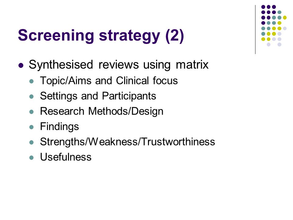 Screening strategy (2) Synthesised reviews using matrix Topic/Aims and Clinical focus Settings and Participants Research Methods/Design Findings Strengths/Weakness/Trustworthiness Usefulness