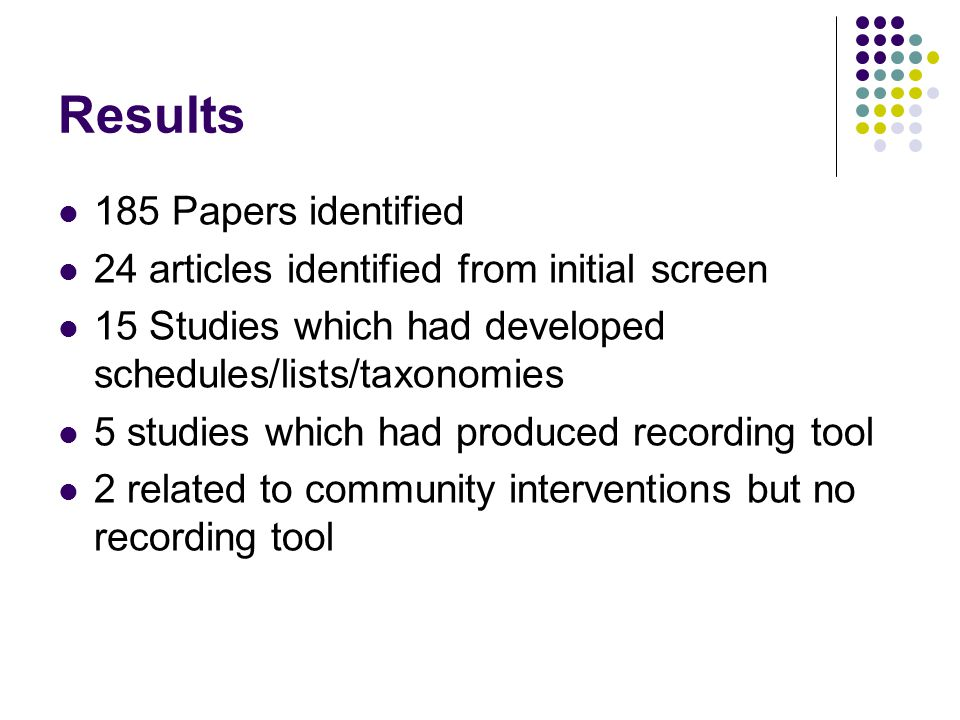 Results 185 Papers identified 24 articles identified from initial screen 15 Studies which had developed schedules/lists/taxonomies 5 studies which had produced recording tool 2 related to community interventions but no recording tool