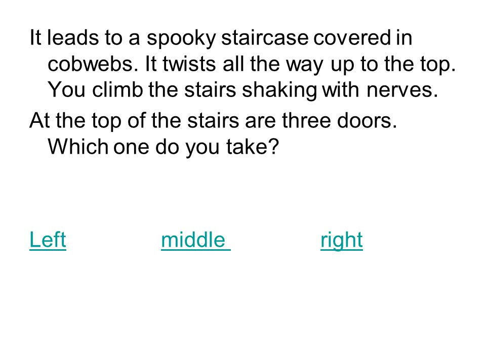 It leads to a spooky staircase covered in cobwebs.