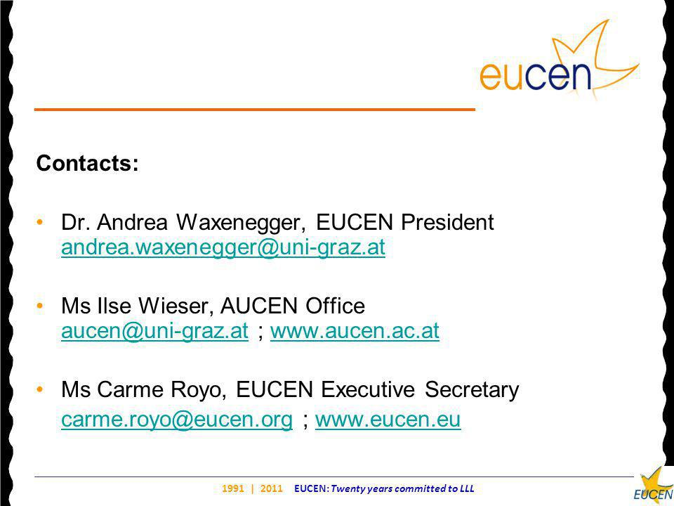1991 | 2011 EUCEN: Twenty years committed to LLL Contacts: Dr.