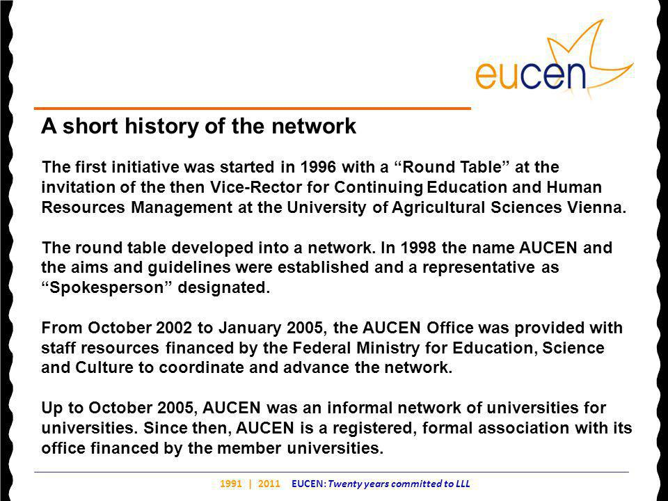 1991 | 2011 EUCEN: Twenty years committed to LLL A short history of the network The first initiative was started in 1996 with a Round Table at the invitation of the then Vice-Rector for Continuing Education and Human Resources Management at the University of Agricultural Sciences Vienna.