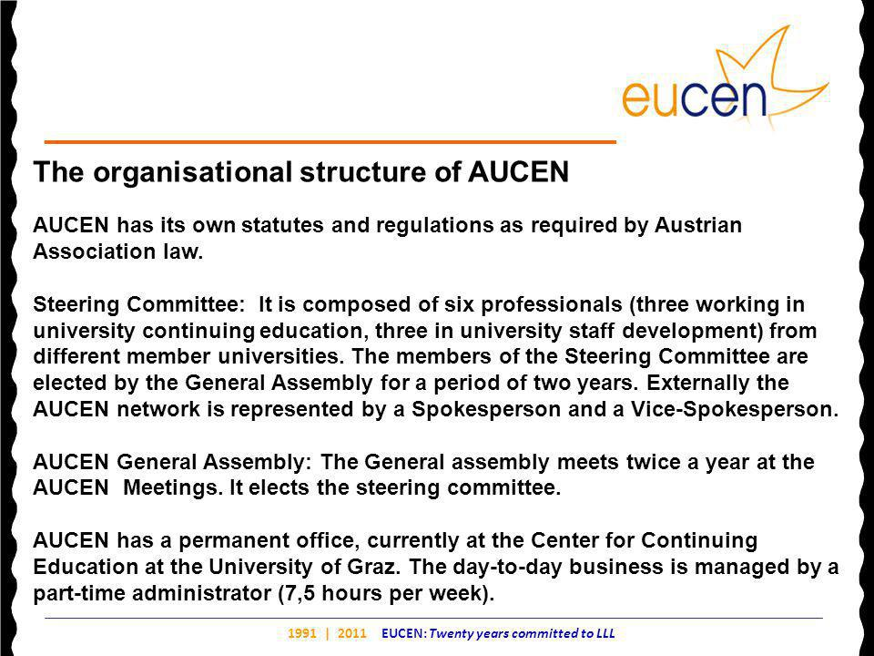1991 | 2011 EUCEN: Twenty years committed to LLL The organisational structure of AUCEN AUCEN has its own statutes and regulations as required by Austrian Association law.