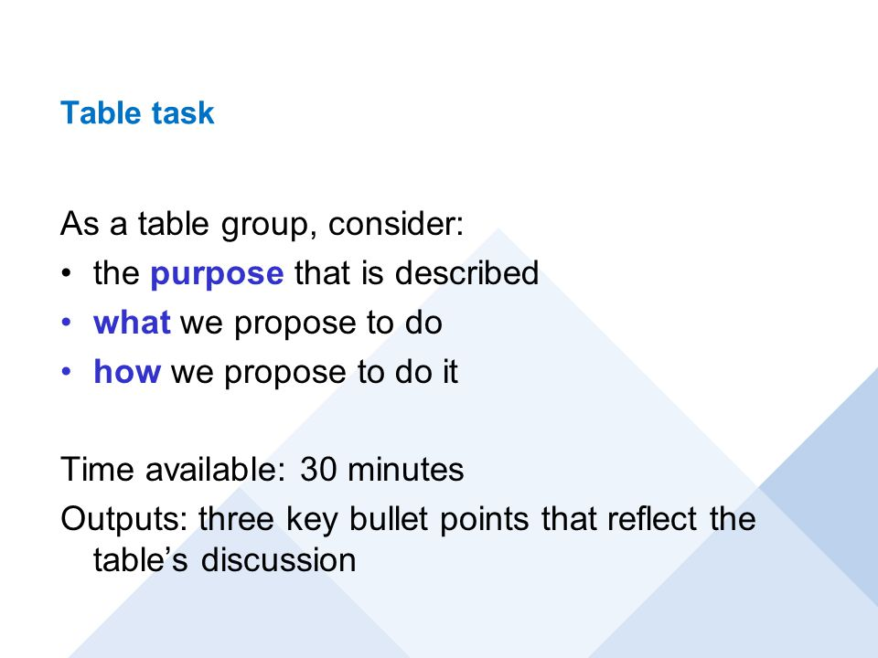 Table task As a table group, consider: the purpose that is described what we propose to do how we propose to do it Time available: 30 minutes Outputs:
