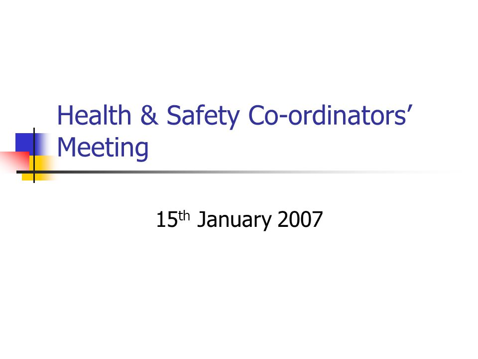 Health & Safety Co-ordinators' Meeting 15 th January 2007