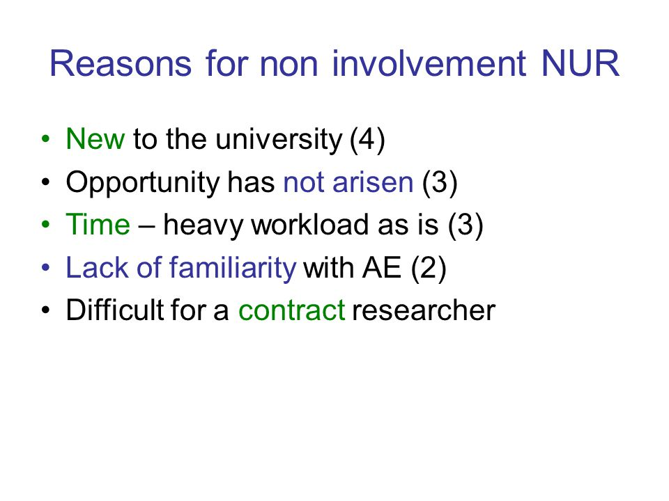 Reasons for non involvement NUR New to the university (4) Opportunity has not arisen (3) Time – heavy workload as is (3) Lack of familiarity with AE (2) Difficult for a contract researcher