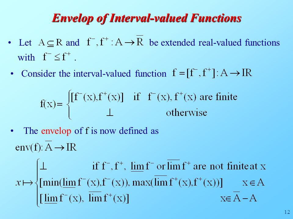 12 Envelop of Interval-valued Functions The envelop of f is now defined as Let and be extended real-valued functions with.