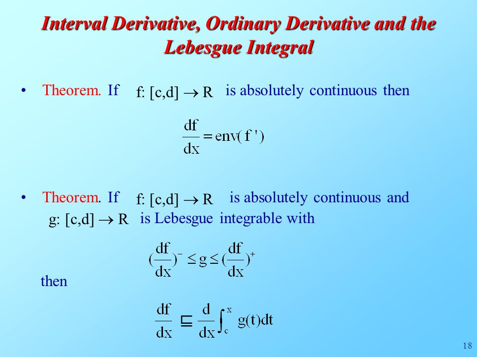18 Interval Derivative, Ordinary Derivative and the Lebesgue Integral Theorem.