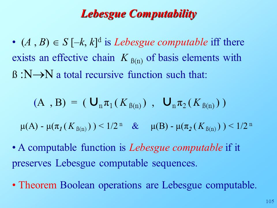 105 Lebesgue Computability (A, B)  S [–k, k] d is Lebesgue computable iff there exists an effective chain K ß(n) of basis elements with ß :N  N a to