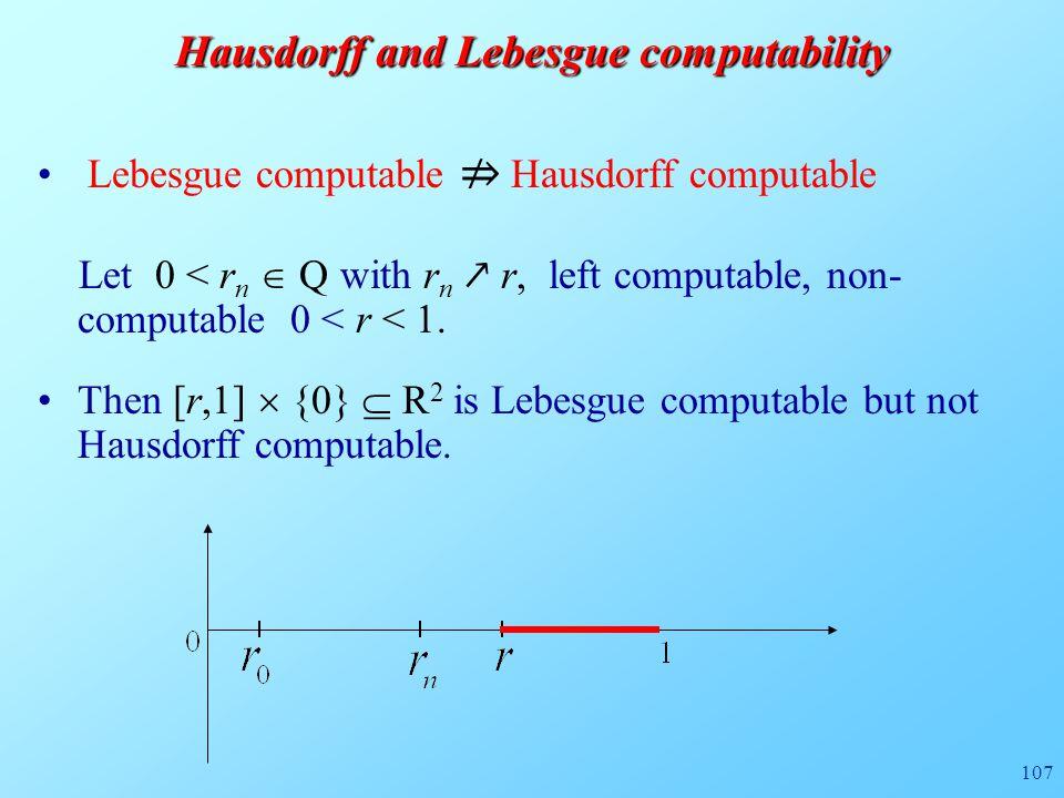 107 Hausdorff and Lebesgue computability Lebesgue computable ⇏ Hausdorff computable Let 0 < r n  Q with r n ↗ r, left computable, non- computable 0 < r < 1.