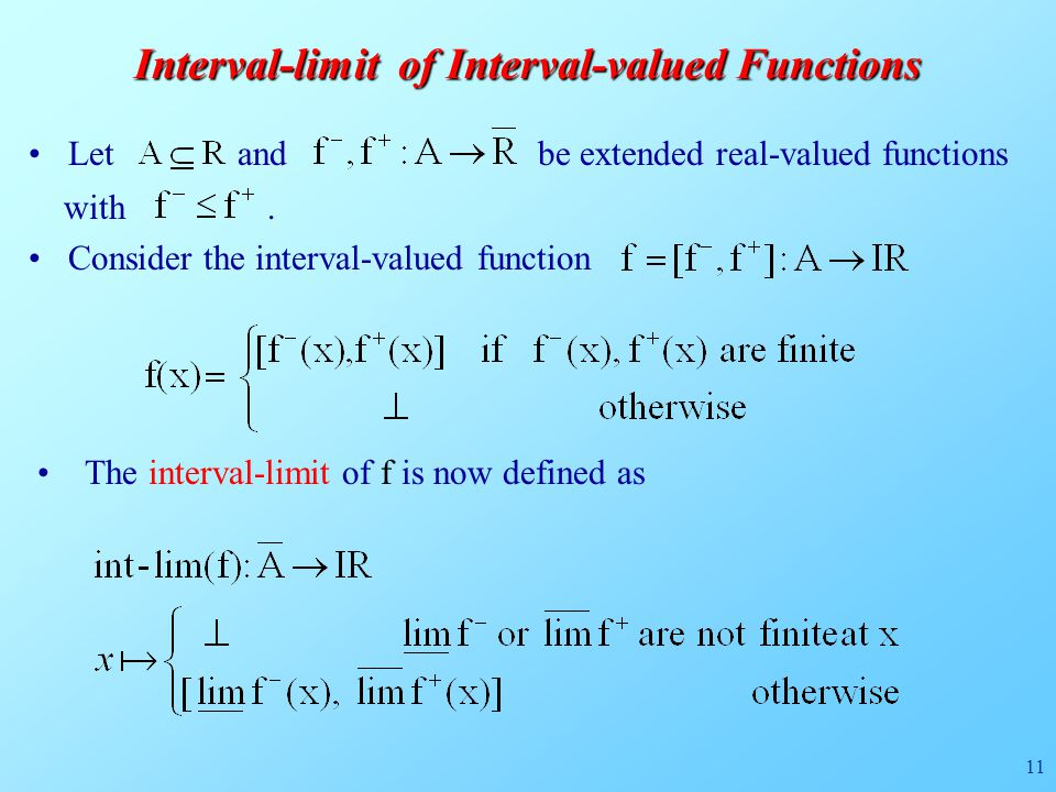 11 Interval-limit of Interval-valued Functions Let and be extended real-valued functions with.