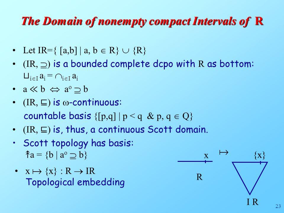 23 Let IR={ [a,b] | a, b  R}  {R} (IR,  ) is a bounded complete dcpo with R as bottom: ⊔ i  I a i =  i  I a i a ≪ b  a o  b (IR, ⊑ ) is  -continuous: countable basis {[p,q] | p < q & p, q  Q} (IR, ⊑ ) is, thus, a continuous Scott domain.