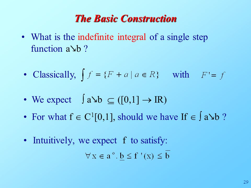 29 Intuitively, we expect f to satisfy: What is the indefinite integral of a single step function a ↘ b ? The Basic Construction Classically, with We