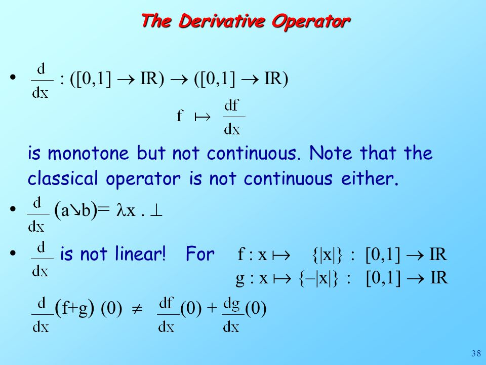 38 The Derivative Operator : ([0,1]  IR)  ([0,1]  IR) is monotone but not continuous. Note that the classical operator is not continuous either. (