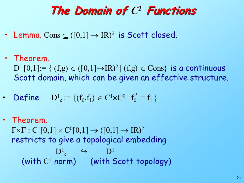 57 Lemma. Cons  ([0,1]  IR) 2 is Scott closed. Theorem.