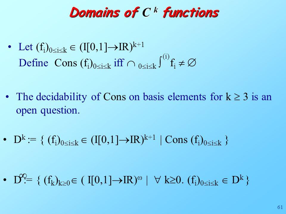 61 Domains of C k functions D k := { (f i ) 0  i  k  (I[0,1]  IR) k+1 | Cons (f i ) 0  i  k } D := { (f k ) k  0  ( I[0,1]  IR) ω |  k  0.