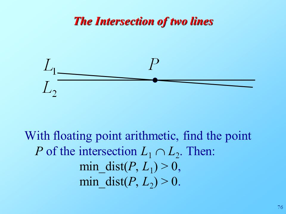 76 The Intersection of two lines With floating point arithmetic, find the point P of the intersection L 1  L 2.