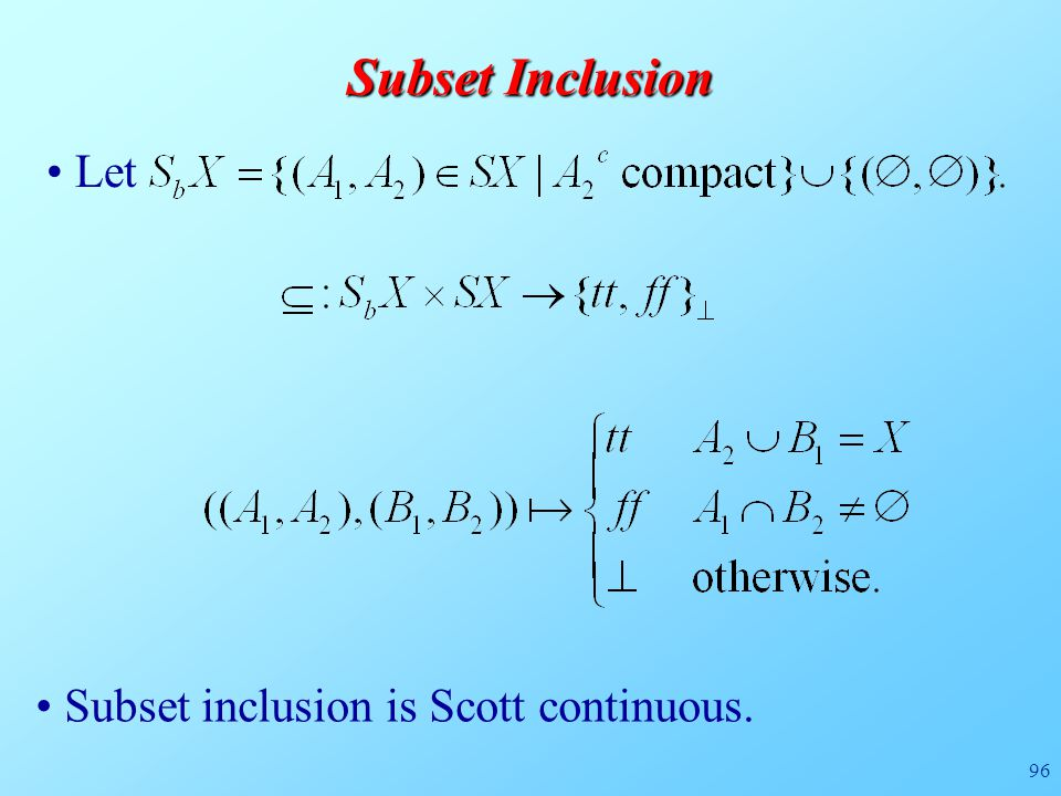 96 Subset Inclusion Subset inclusion is Scott continuous. Let