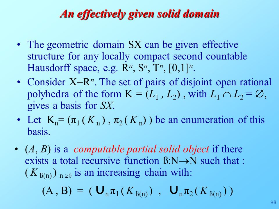 98 (A, B) is a computable partial solid object if there exists a total recursive function ß:N  N such that : ( K ß(n) ) n  0 is an increasing chain