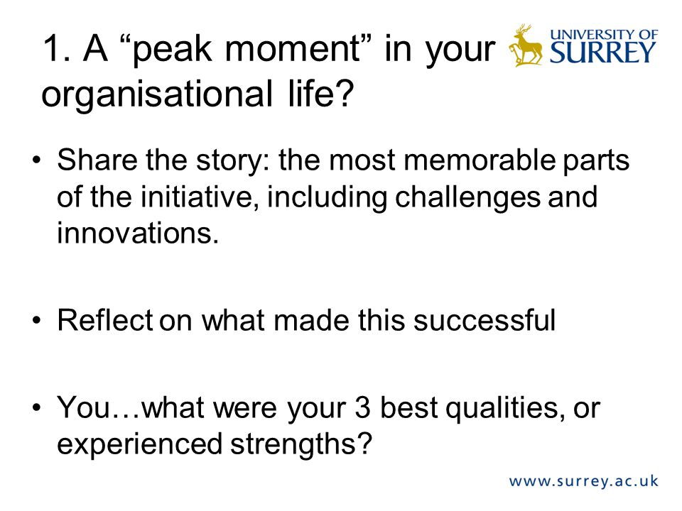 1. A peak moment in your organisational life.