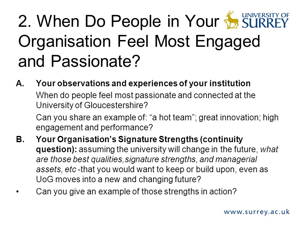 2. When Do People in Your Organisation Feel Most Engaged and Passionate.