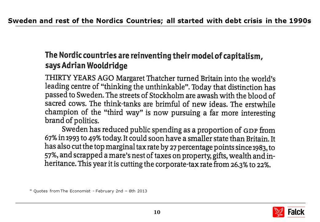 10 Sweden and rest of the Nordics Countries; all started with debt crisis in the 1990s * Quotes from The Economist - February 2nd – 8th 2013