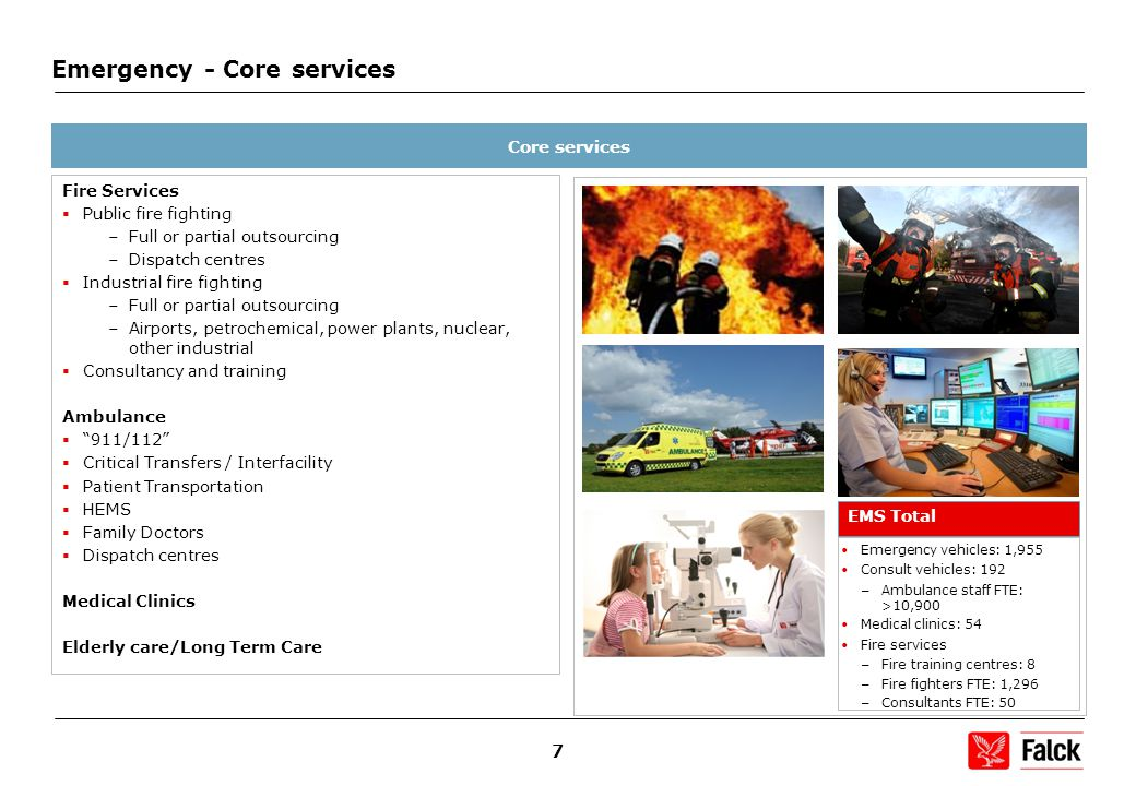 7 Emergency - Core services Core services Fire Services  Public fire fighting –Full or partial outsourcing –Dispatch centres  Industrial fire fighting –Full or partial outsourcing –Airports, petrochemical, power plants, nuclear, other industrial  Consultancy and training Ambulance  911/112  Critical Transfers / Interfacility  Patient Transportation  HEMS  Family Doctors  Dispatch centres Medical Clinics Elderly care/Long Term Care EMS Total Emergency vehicles: 1,955 Consult vehicles: 192 – Ambulance staff FTE: >10,900 Medical clinics: 54 Fire services – Fire training centres: 8 – Fire fighters FTE: 1,296 – Consultants FTE: 50