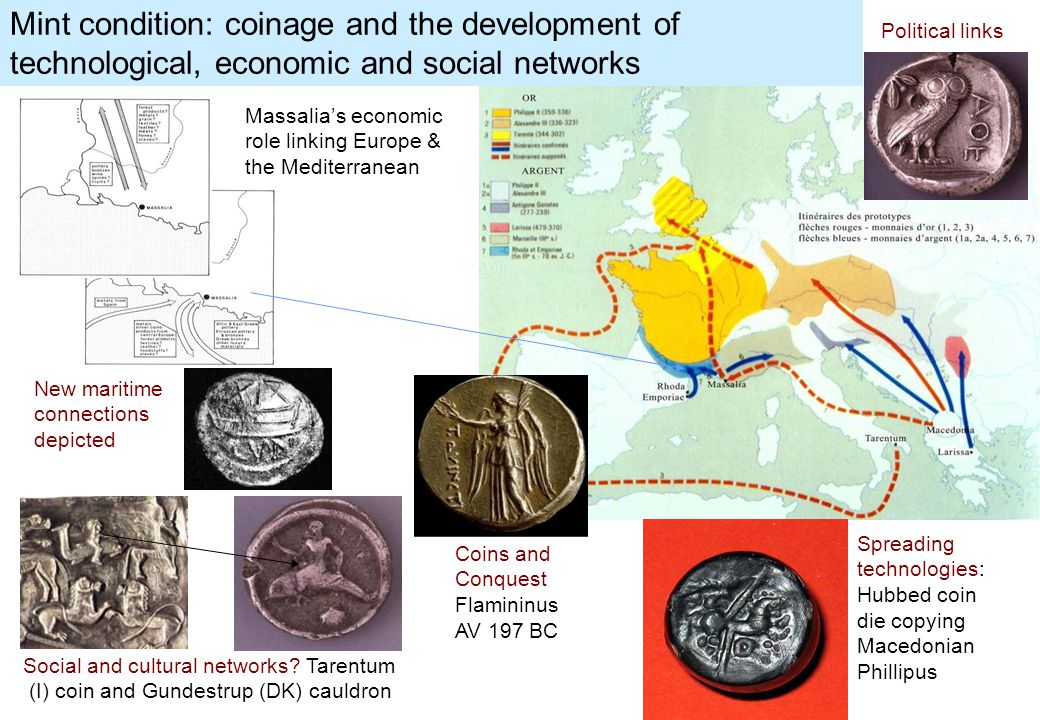 Social and cultural networks? Tarentum (I) coin and Gundestrup (DK) cauldron Massalia's economic role linking Europe & the Mediterranean Spreading tec
