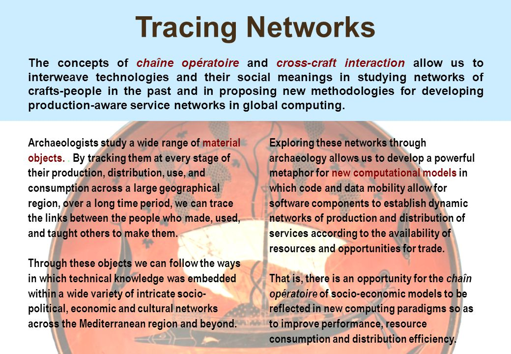 Tracing Networks The concepts of chaîne opératoire and cross-craft interaction allow us to interweave technologies and their social meanings in studyi
