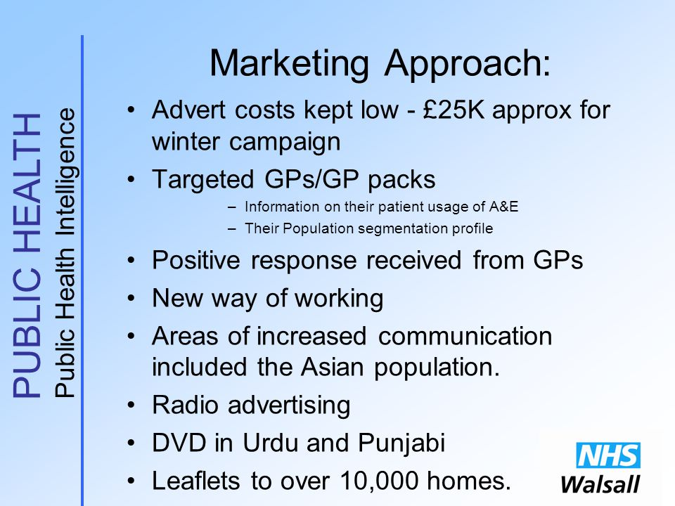 PUBLIC HEALTH Public Health Intelligence Marketing Approach: Advert costs kept low - £25K approx for winter campaign Targeted GPs/GP packs –Information on their patient usage of A&E –Their Population segmentation profile Positive response received from GPs New way of working Areas of increased communication included the Asian population.