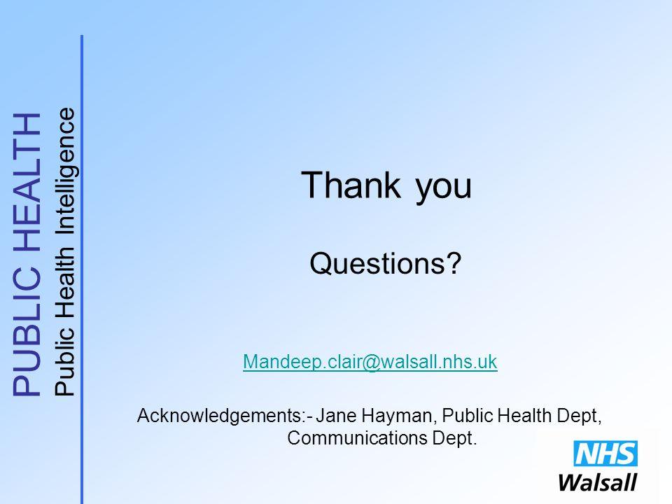 PUBLIC HEALTH Public Health Intelligence Thank you Questions? Mandeep.clair@walsall.nhs.uk Acknowledgements:- Jane Hayman, Public Health Dept, Communi