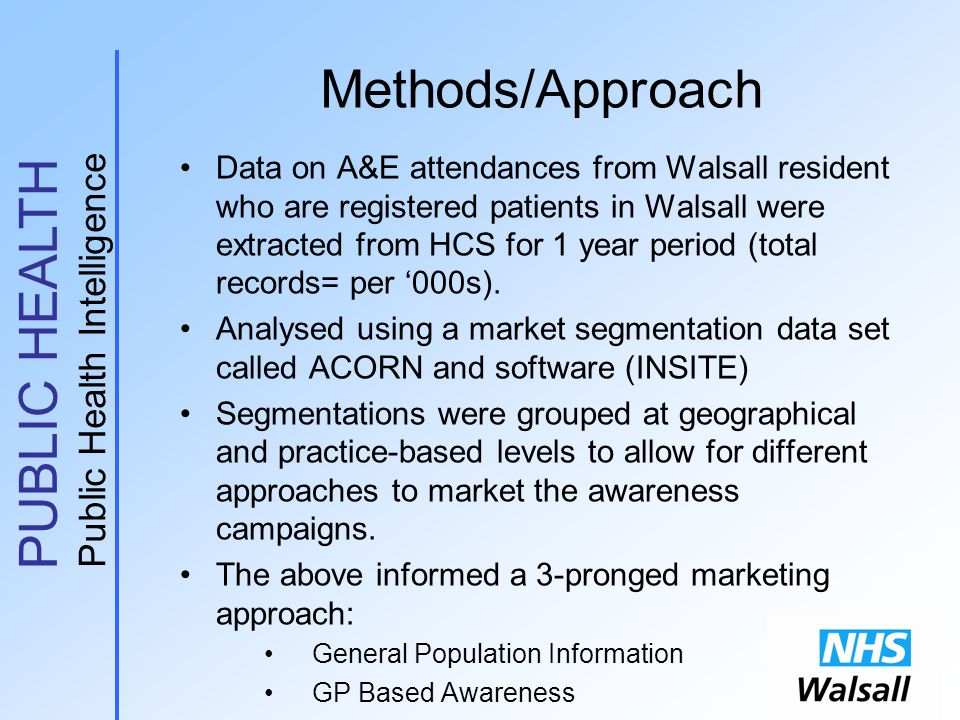 PUBLIC HEALTH Public Health Intelligence Methods/Approach Data on A&E attendances from Walsall resident who are registered patients in Walsall were extracted from HCS for 1 year period (total records= per '000s).