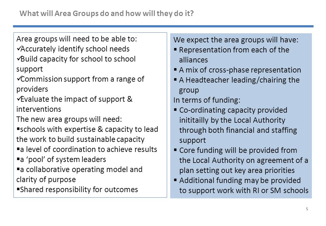 What will Area Groups do and how will they do it.