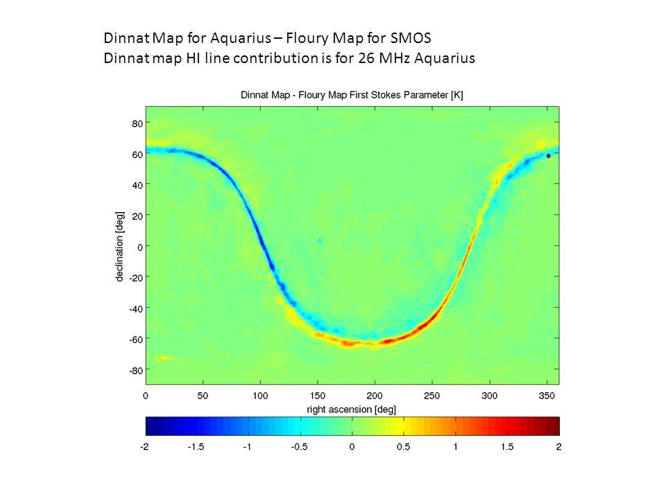 Dinnat Map for Aquarius – Floury Map for SMOS Dinnat map HI line contribution is for 26 MHz Aquarius